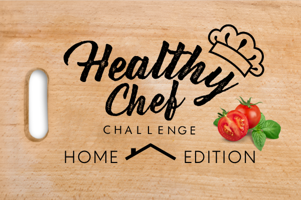 Beyond Hunger Healthy Chef Challenge Home Logo featuring a cutting board with chef's hat and tomatoes